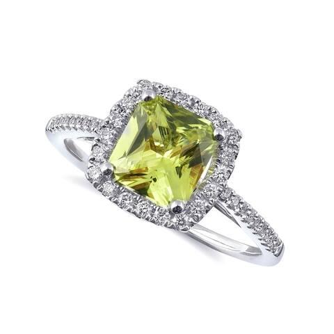 14K White Gold 1.53ct TGW Chrysoberyl with White Diamonds Halo Ring