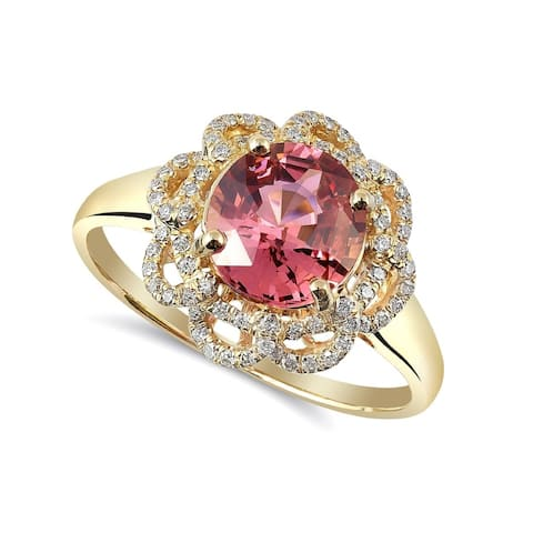 14K Yellow Gold 1.8ct TGW Spinel with White Diamonds Flower Ring