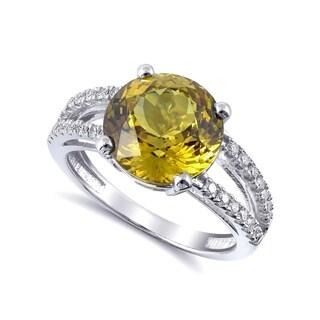 14K White Gold 4.49ct TGW Chrysoberyl with White Diamonds Split-shank Ring