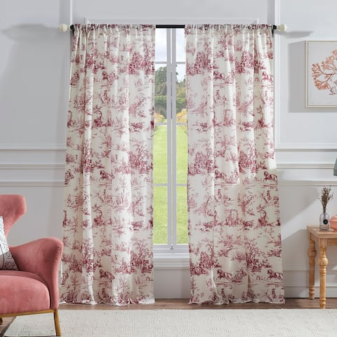 Greenland Home Classic Toile Red Curtain Panel Pair - 42 x 84