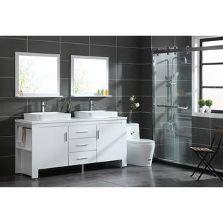 "Design Element Washington 72"" Double Sink Vanity Set in White"