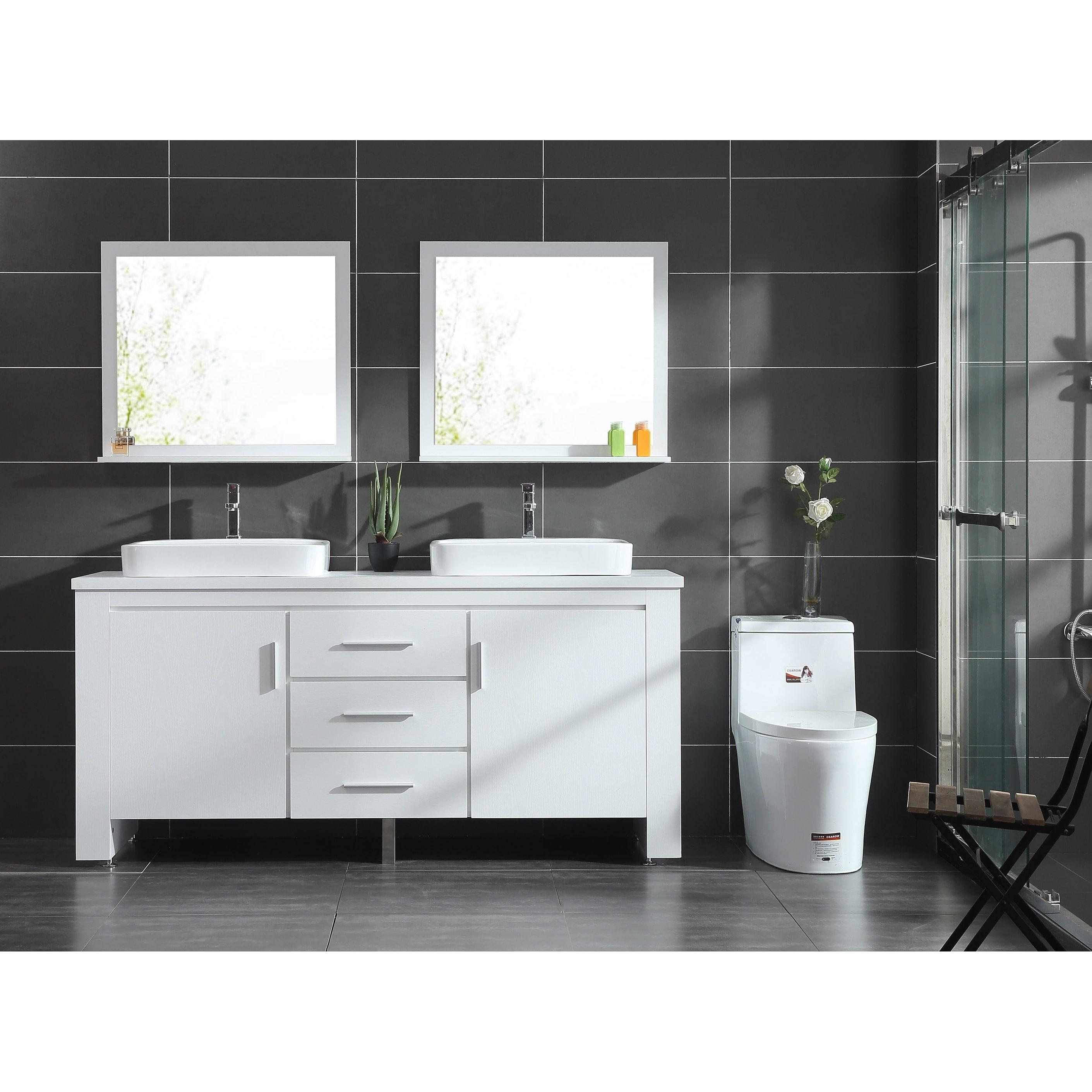 Design Element Washington 72 Inch White Double Sink Vanity Set