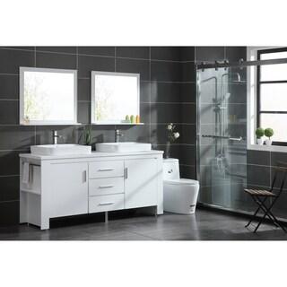 Design Element Washington 72-Inch White Double Sink Vanity Set