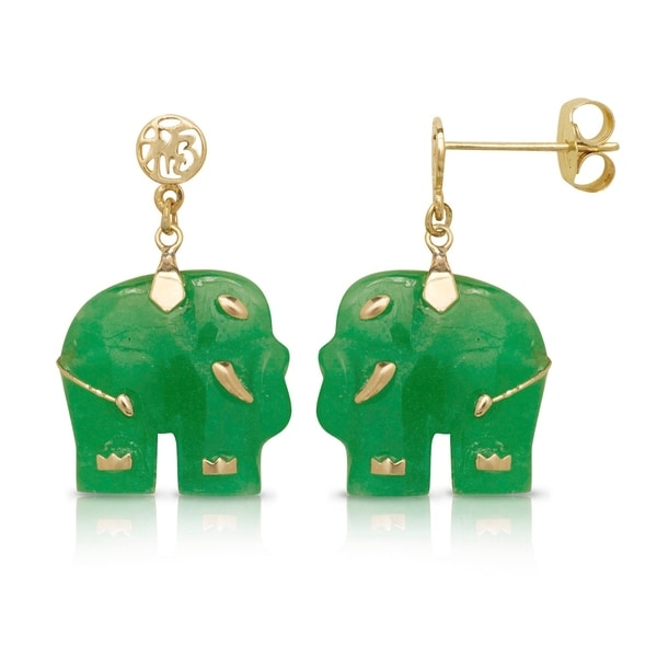 Curata Solid 14k Carved Green Jade Elephant Drop Dangle Earrings 12mm X 24mm