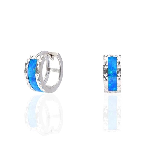 60d5ece5720de Shop Curata Sterling Silver Inlaid Created Fire Opal Wide Diamond ...