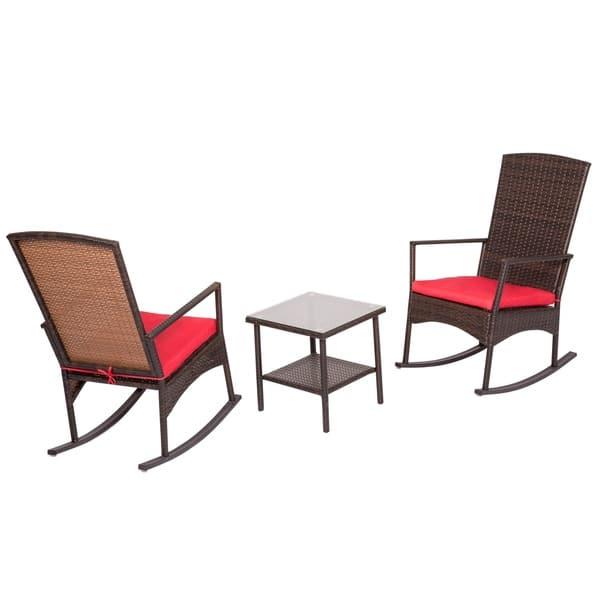 Kinbor 3 Piece Wicker Outdoor Conversation Set W Cushions Overstock 23033217 Red1