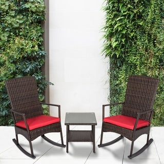 Link to Kinbor 3-Piece Wicker Outdoor Conversation Set w/ cushions Similar Items in Patio Furniture