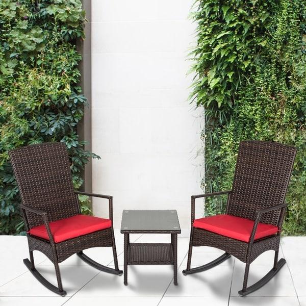 Shop Kinbor 3 Piece Wicker Rocking Chair Bistro Set Patio Chat Set