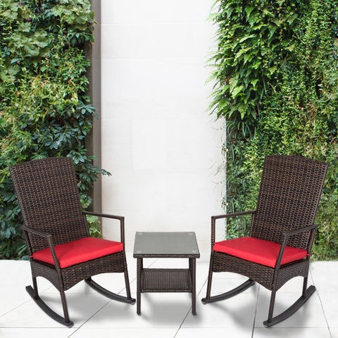 Kinbor 3 PCs All-weather Wicker Rocking Set Patio Garden Chat Set Outdoor Rattan Armchair Furniture Set w/ Cushions & Table