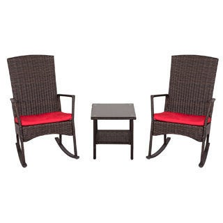 Kinbor 3 piece Wicker Rocking Chair Bistro Set Patio Chat Set All-weather Outdoor Furniture Set w/ Cushions & Table