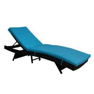 Kinbor Outdoor Patio Adjustable Chaise Lounge Chair All-weather PE Rattan Wicker Chaise Lounge Furniture w/Cushions