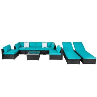 Kinbor 9Pcs Outdoor Patio All-weather Rattan Wicker Sofa Sectional & Adjustable Chaise Lounge Furniture Set
