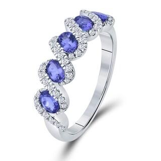 Divina 14KT White Gold 1/3ct TDW Diamond and Gemstone Wedding Band