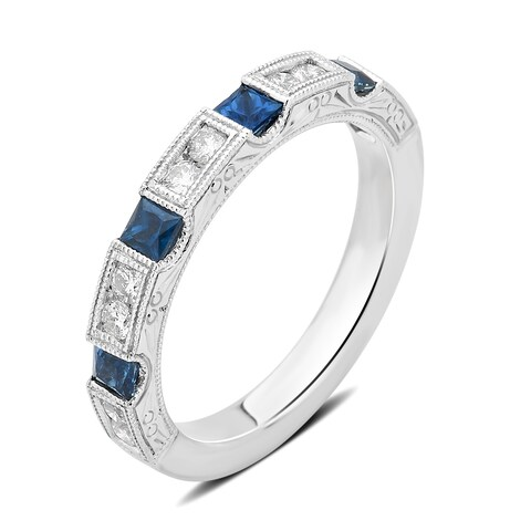 Divina 14KT White Gold 1/3ct TDW Diamond and Sapphire Wedding Band
