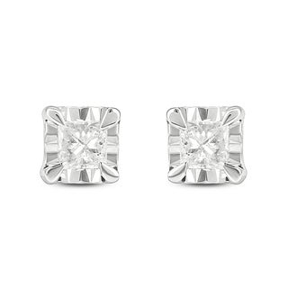 Cali Trove 10kt white gold 1/10ct TDW princess diamond fashion stud earrings - N/A