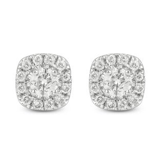 Cali Trove 10kt white gold 1/2ct TDW round diamond fashion stud earrings - N/A