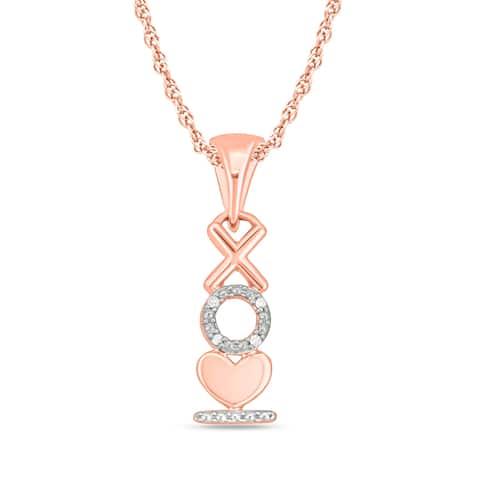 Cali Trove Diamond Accent Heart XO Pendant In 10kt Rose Gold