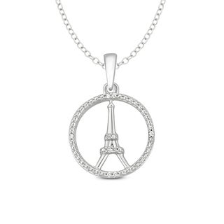 Cali Trove Diamond Accent Eiffel Tower Fashion Pendant In Sterling Silver