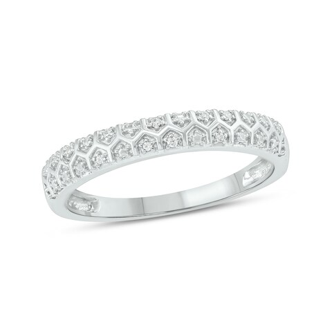 Cali Trove White Sterling Silver 1/20ct TDW Round Shape Natural Diamond Vintage Wedding Band