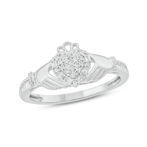 Cali Trove White Gold 1/5ct TDW Round Shape Natural Diamond Claddagh Promise Ring