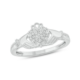 Cali Trove White Gold 1 5ct TDW Round Shape Natural Diamond Claddagh Promise Ring