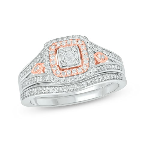 Cali Trove Two Tone Sterling Silver 3/8ct TDW Round Baguette Shape Natural Diamonds Square Frame 2 Piece Bridal Set