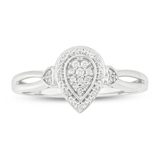 Cali Trove White Streling Silver 1 10ct TDW Round Shape Natural Diamond Pear Frame Promise Ring