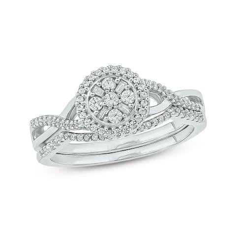 Cali Trove White Gold 1/3ct TDW Round Baguette Shape Natural Diamonds 2 Piece Composite Bridal Set