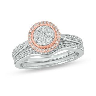 Cali Trove Two Tone White Pink Gold 1 2ct TDW Round Shape Natural Diamond 2 Piece Composite Bridal Set
