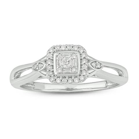 Cali Trove White Sterling Silver 1/6ct TDW Round Baguette Shape Natural Diamond Square Frame Composite Promise Ring