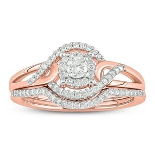 Cali Trove 10KT pink gold 1/3ct TDW Round Shape Natural Diamond 2 Piece Bridal Set