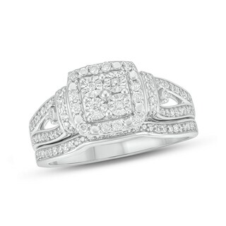 Cali Trove White Sterling Silver 1/4ct TDW Round Shape Natural Diamonds 2 Piece Composite Bridal Set