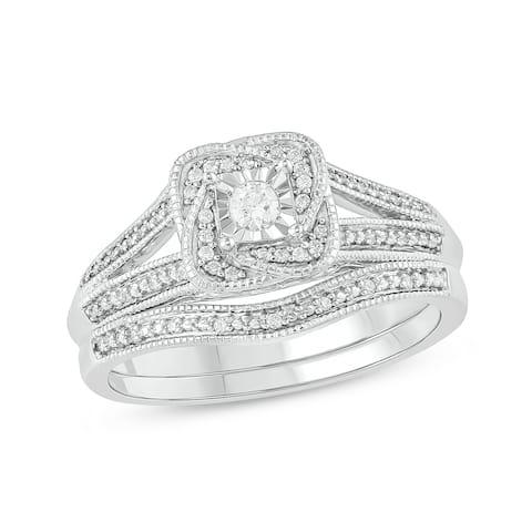 Cali Trove sterling silver 1/5ct TDW Round shape Diamond 2 Piece Bridal Set
