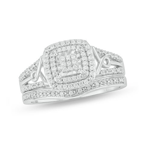 Cali Trove White Sterling Silver 1/4ct TDW Round Shape Natural Diamond 2 Piece Composite Bridal Set
