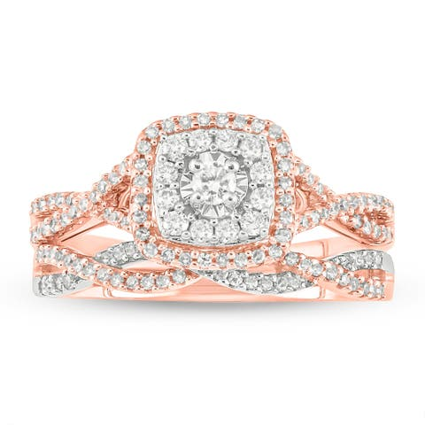 Cali Trove 10kt white & pink gold 1/2ct TDW Round Natural Diamond 2 Piece square frame Bridal Set