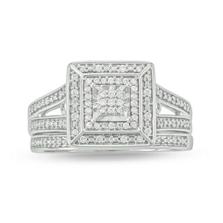 Cali Trove sterling silver 1/4ct TDW Round Shape Natural Diamond 2 Piece square frame vintage Bridal Set
