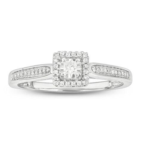 Cali Trove White Gold 1/6ct TDW Round Shape Natural Diamond Square frame Promise Ring