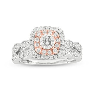 Cali Trove 14kt Two Tone Gold 3 4ct TDW Round Shape Natural Diamond 2 Piece Bridal Set