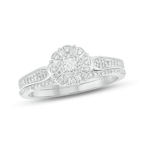 Cali Trove 10kt white gold 1/4ct TDW Round & baguette Natural Diamond 2 Piece round frame Bridal Set