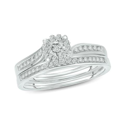 Cali Trove 10kt white gold 1/2ct TDW Diamond 2 Piece Bridal Set