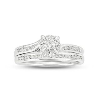 Cali Trove 10KT white gold 1/2ct TDW Round Shape Natural Diamond 2 Piece Bridal Set