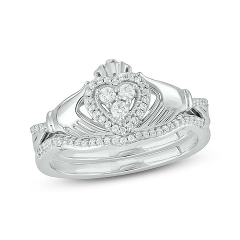 Cali Trove White Gold 1/4ct TDW Round Shape Natural Diamond 2 Piece Claddagh Bridal Set