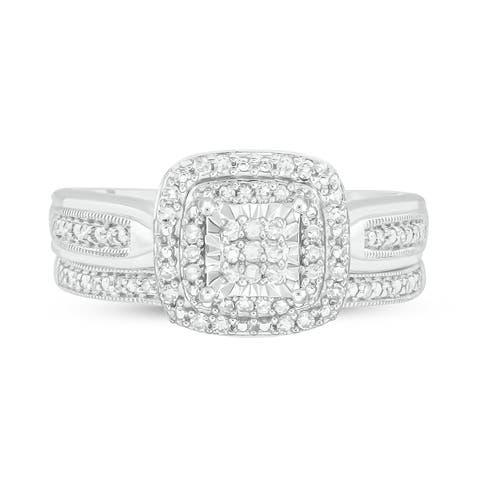 Cali Trove White Sterling Silver 1/5ct TDW Round Shape Natural Diamond 2 Piece Composite Bridal Set