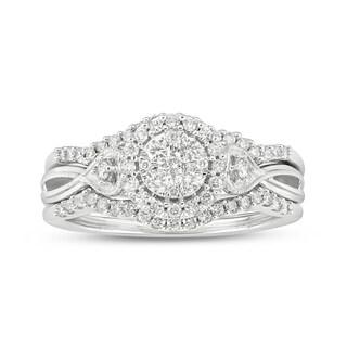 Cali Trove 10kt white gold 1/2ct TDW Round Shape Natural Diamond 2 Piece vintage Bridal Set