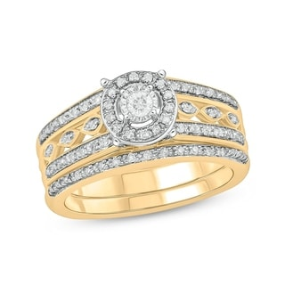 Cali Trove Sterling Silver With 2 Micron 14kt Yellow Plating 1 4ct TDW Round Shape Natural Diamond 2 Piece Bridal Set