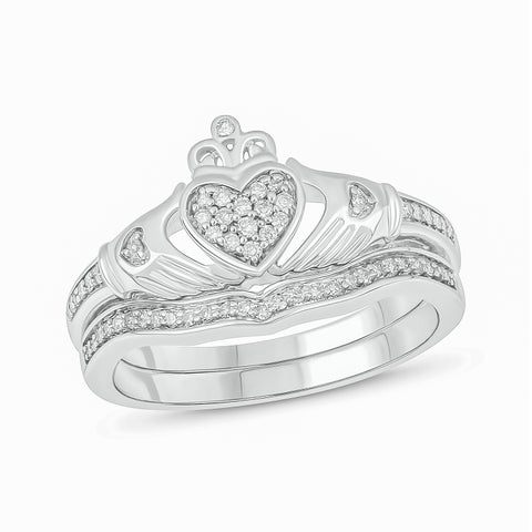 Cali Trove sterling silver 1/5ct TDW Round Shape Natural Diamond 2 Piece claddagh Bridal Set