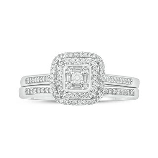 Cali Trove 10kt white gold 1/4ct TDW Round and baguette Diamond 2 Piece square frame Bridal Set