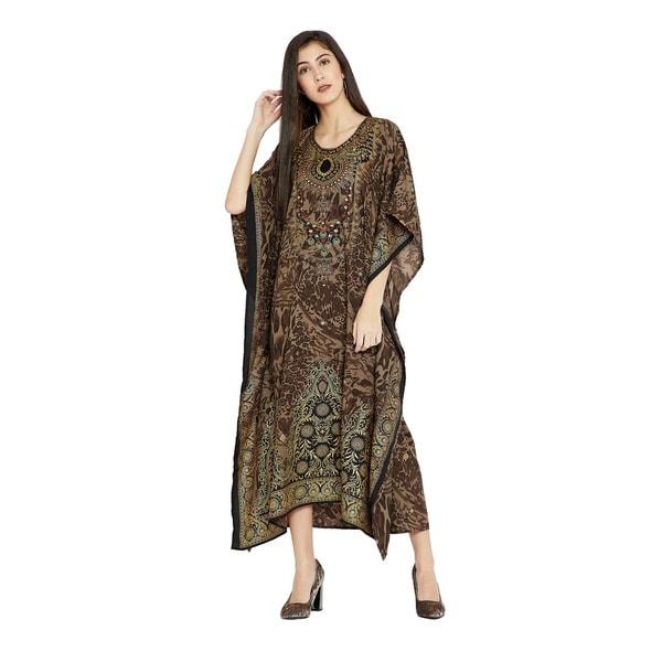 9c395532c5 Shop Dress Kaftan Women Maxi Paisley Print Long Plus Size Brown ...