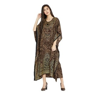 Dress Kaftan Women Maxi Paisley Print Long Plus Size Brown Caftan Gown