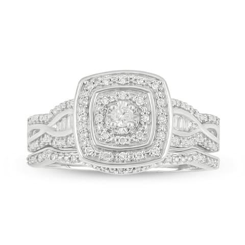 Cali Trove sterling silver 1/4ct TDW Round Shape Natural Diamond 2 Piece vintage Bridal Set